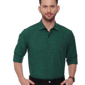 Green Semi Casual Regular tailored solid shirt
