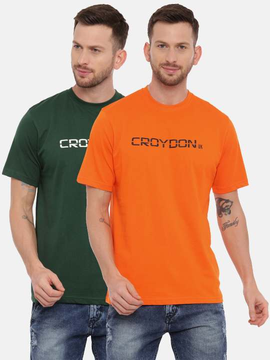 Orange And Green Crewneck Typographic Printed T-Shirt Combo