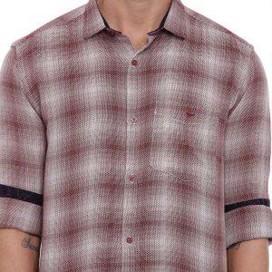 Red Semi Casual Regular tailored checkered shirt