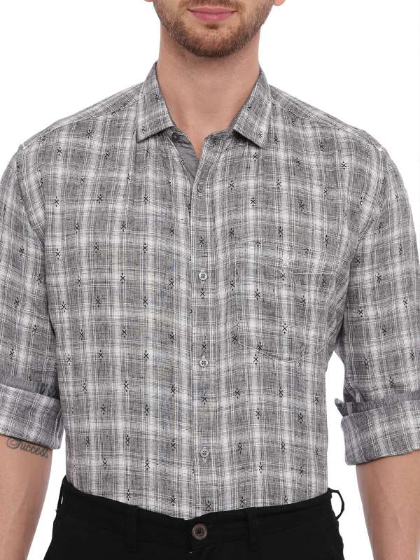 Grey Semi Casual Regular checkered shirt