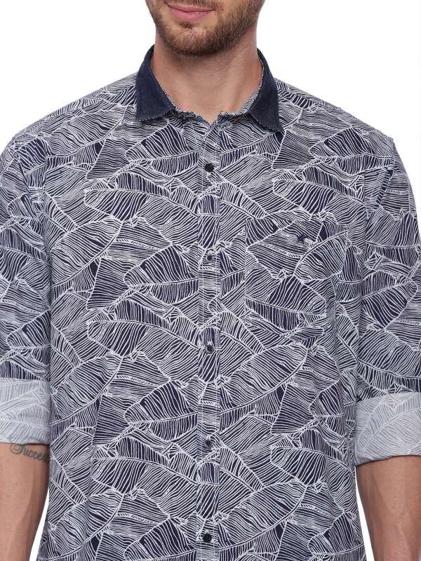 Blue Semi Casual Regular tailored Printed shirt