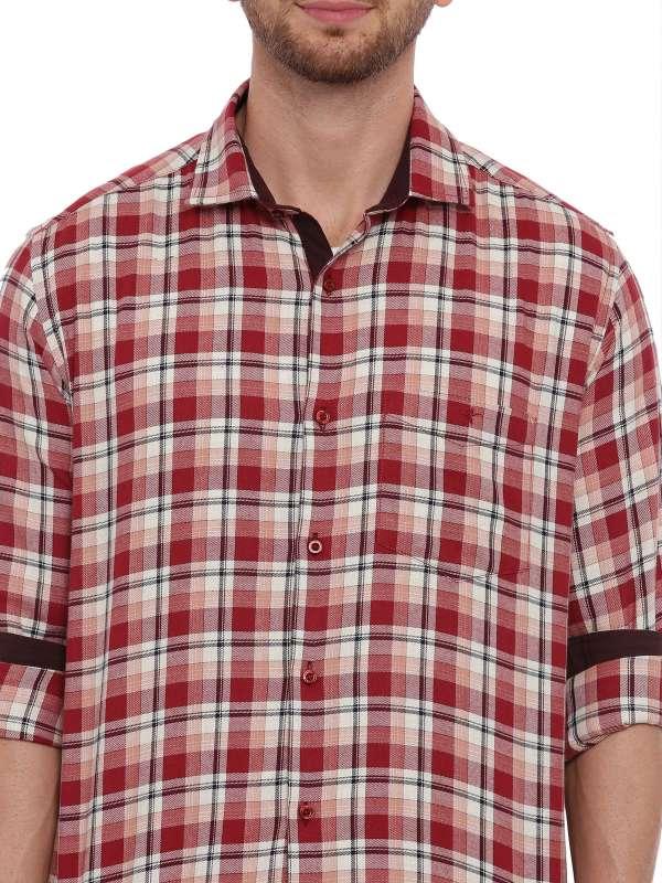 Red SemiCasual Regular tailored checkered shirt