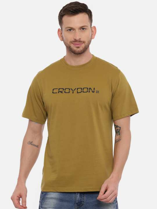 Black And Olive Crewneck Typographic Printed T-Shirt Combo