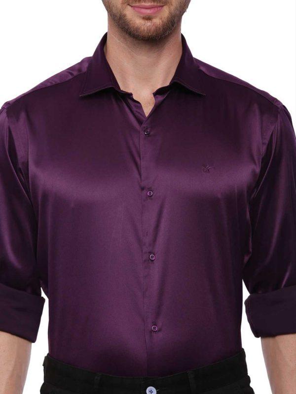 Croydon UK Purple Semi Casual Regular Shirt