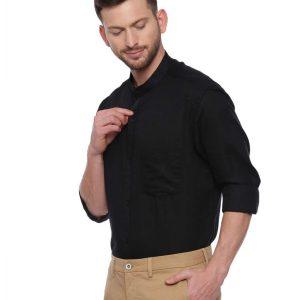 Black Semi Casual Mandarin Shirt