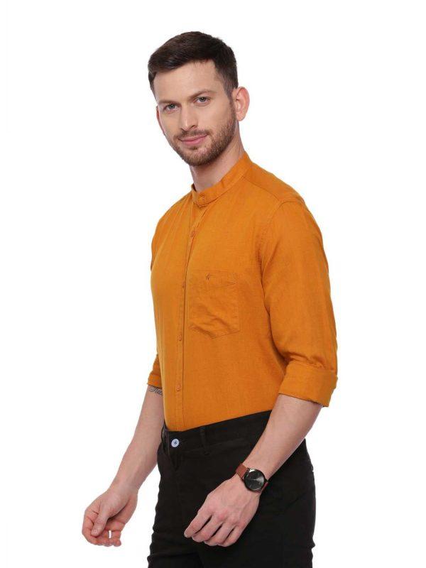 Croydon UK Orange Semi Casual shirt with Mandarin Collar