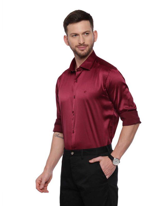 Croydon UK Dark Red Semi Casual Regular Shirt