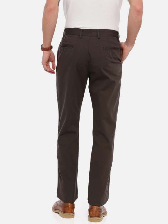 Brown Tapered Solid Chinos Trouser