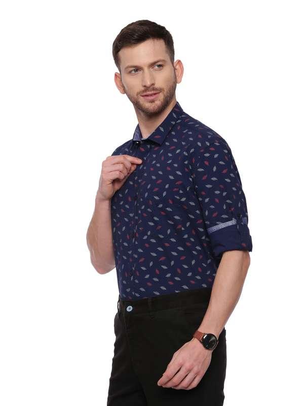 Navy Blue Semi Casual Regular tailored Printed shirt
