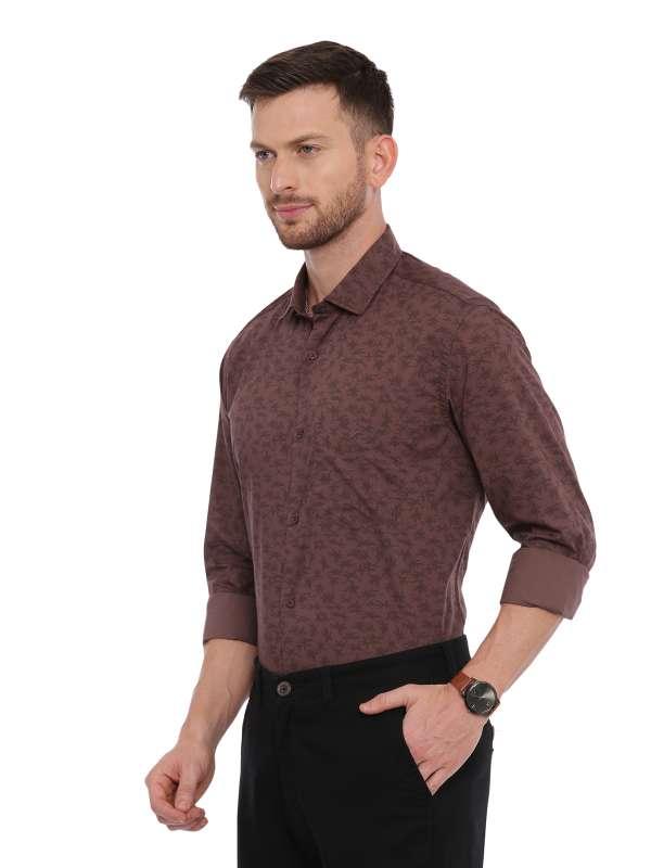 Brown Semi Casual Regular tailored Printed shirt