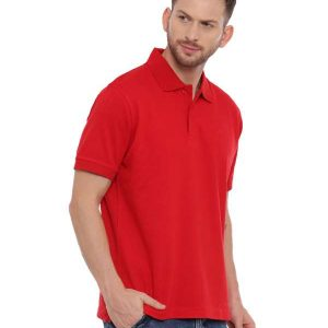 Red Regular Solid Polo Neck T-Shirt