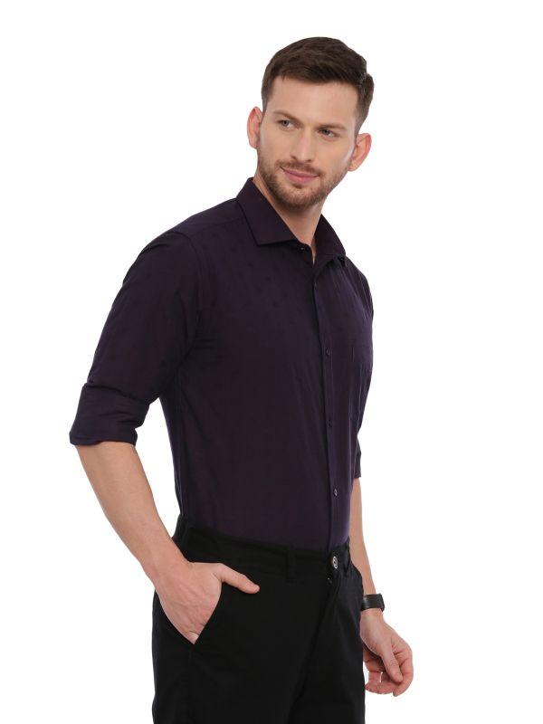 Purple Formal Regular Textured Shirt