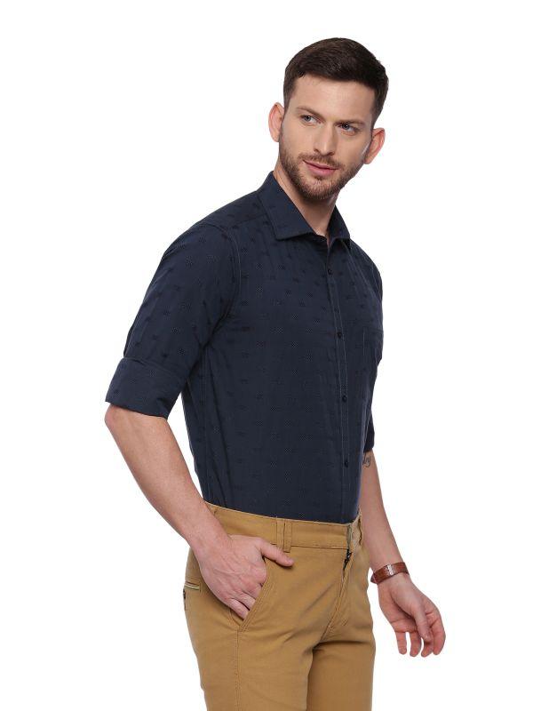 Green Formal Regular Textured Shirt