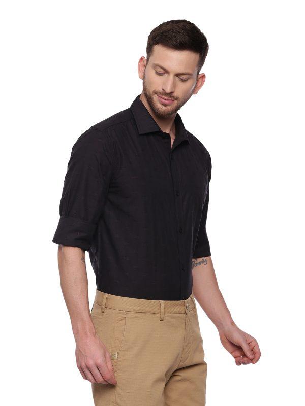 Brown Formal Regular Textured Shirt