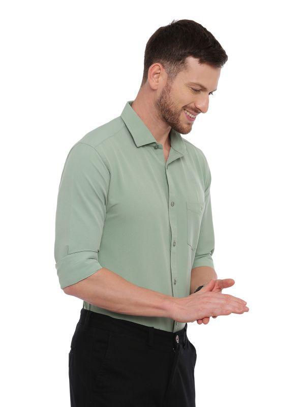 Green Formal Regular Soilid Shirt