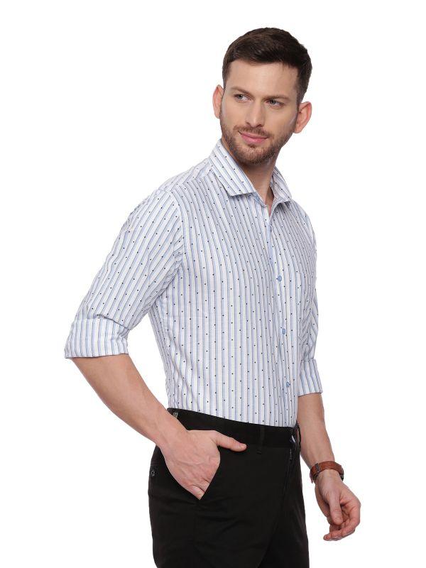 Blue SemiCasual Regular Striped shirt