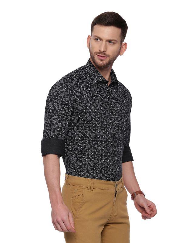 Black Semi Casual Men Regular Printed Full Sleeve Shirt