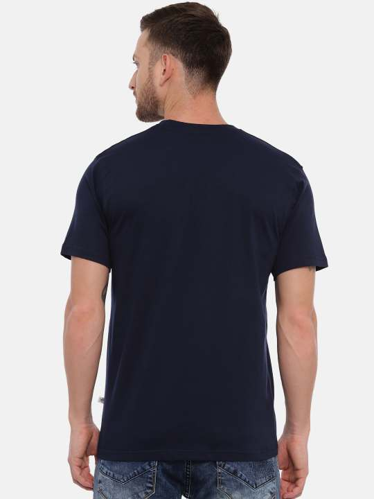 Blue And Navy Crewneck Typographic Printed T-Shirt Combo