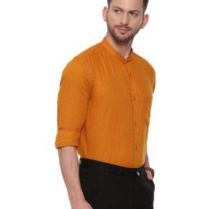 Orange Semi Casual shirt with Mandarin Collar