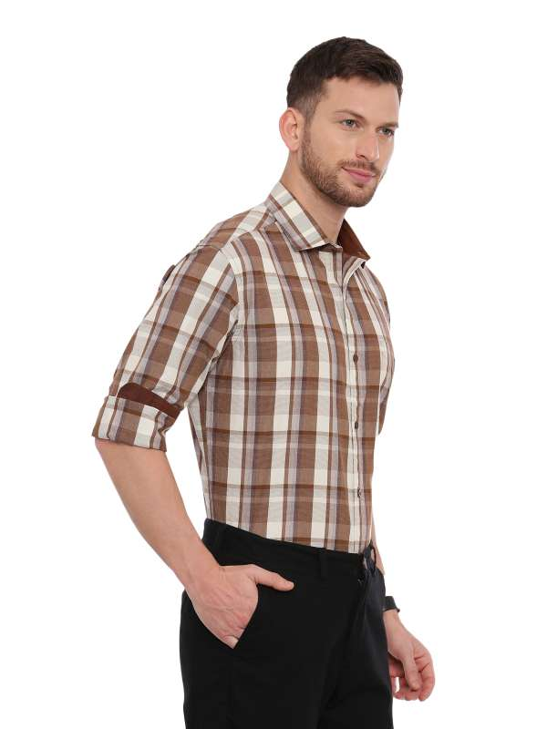 Brown Semi Casual Regular tailored checkered shirt