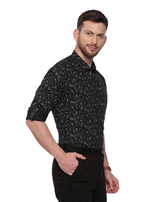 Black SemiCasual Regular tailored Printed shirt
