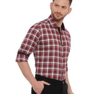 Red Semi Casual Regular checkered shirt
