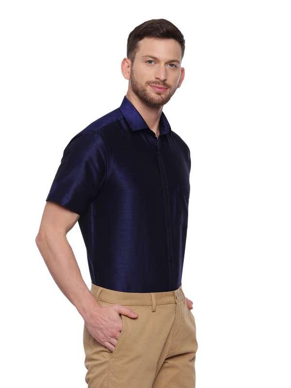 Navy Blue Semi Casual Regular tailored solid shirt