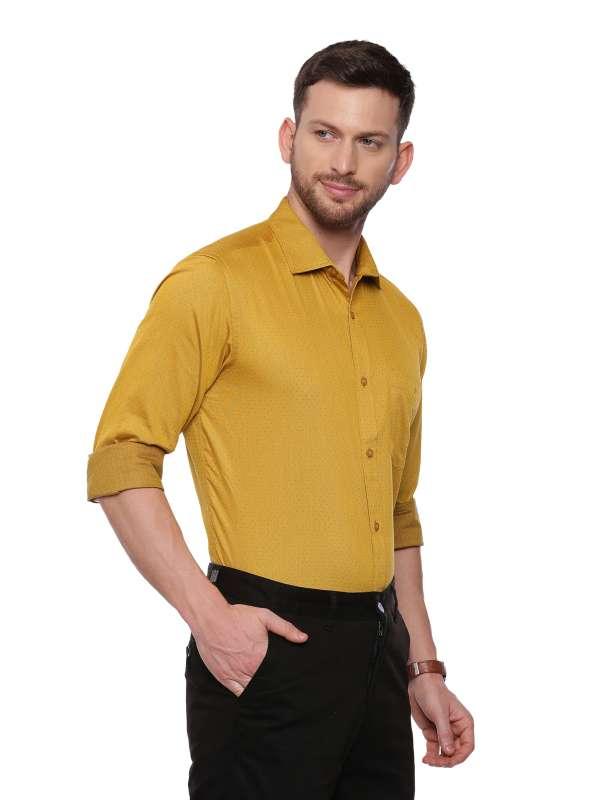 Yellow Formal Regular tailored Micro Printed shirt