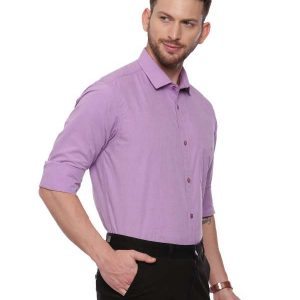 Purple Formal Regular tailored solid shirt