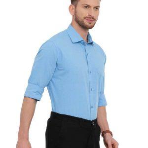 Blue Formal Regular Mens tailored solid shirt