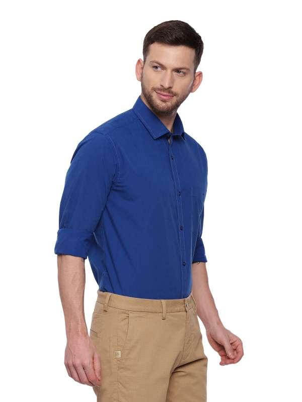 Blue Formal Regular Mens tailored shirt