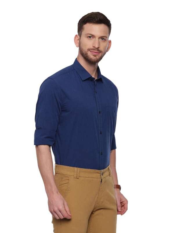 Navy Blue Formal Regular Mens tailored solid shirt