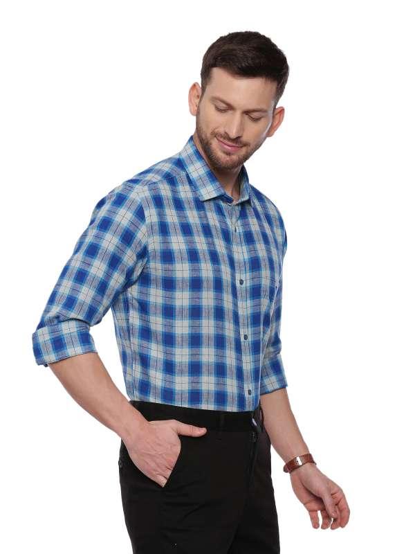 Blue SemiCasual Regular tailored checkered shirt