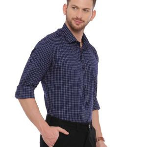 Navy blue Formal Regular Mens tailored checkered shirt