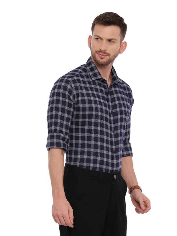 Navy blue Smart formal Regular tailored checkered shirt