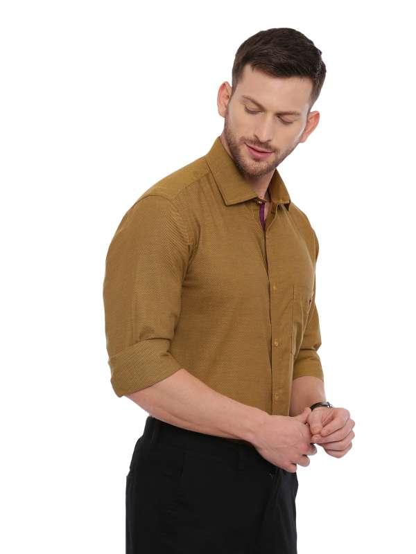 Brown Smart formal Regular solid shirt