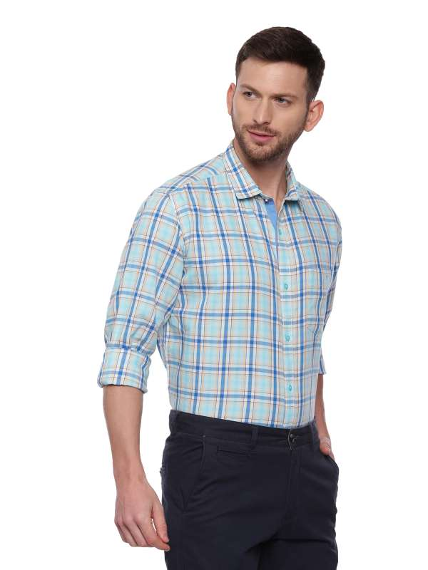 Blue Semi Casual Regular checkered shirt