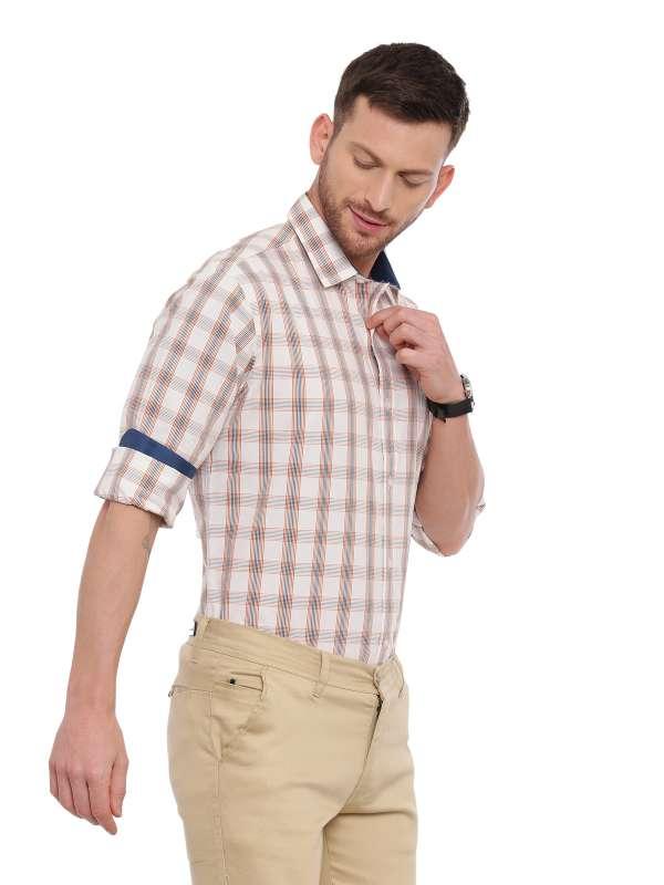 White Semi Casual Regular checkered shirt
