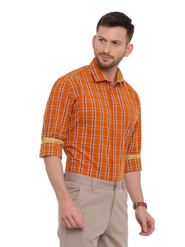 Orange Semi Casual Regular checkered shirt