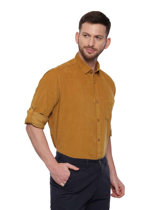 Gold Semi Casual Regular tailored corduroy shirt