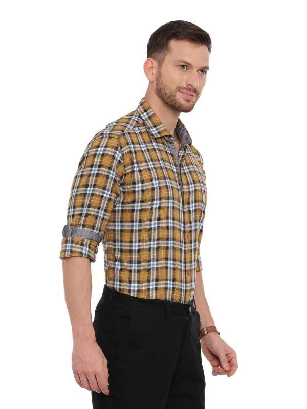 Yellow SemiCasual Regular checkered shirt