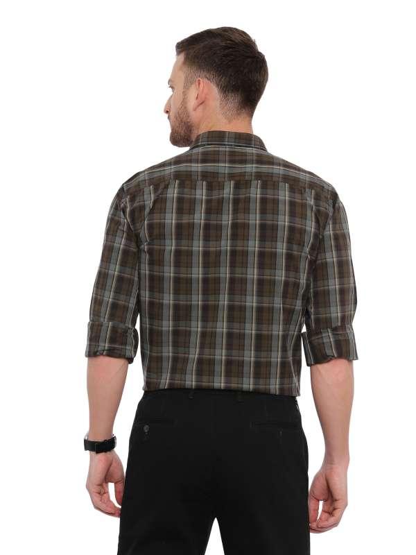 Green Smart formal Regular tailored checkered shirt