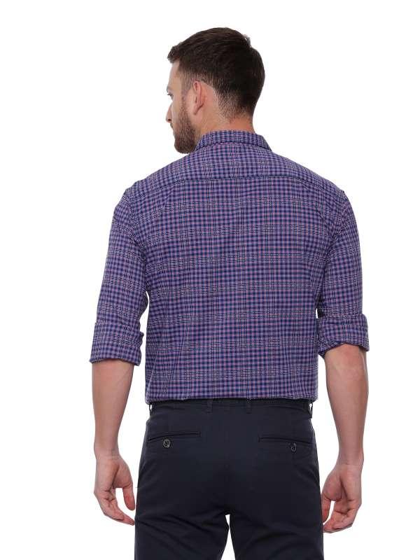 Blue Semi Casual Regular Mens tailored checkered shirt