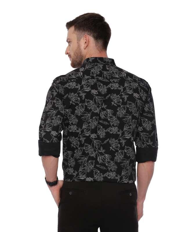 Black Semi Casual Regular Mens tailored Printed shirt