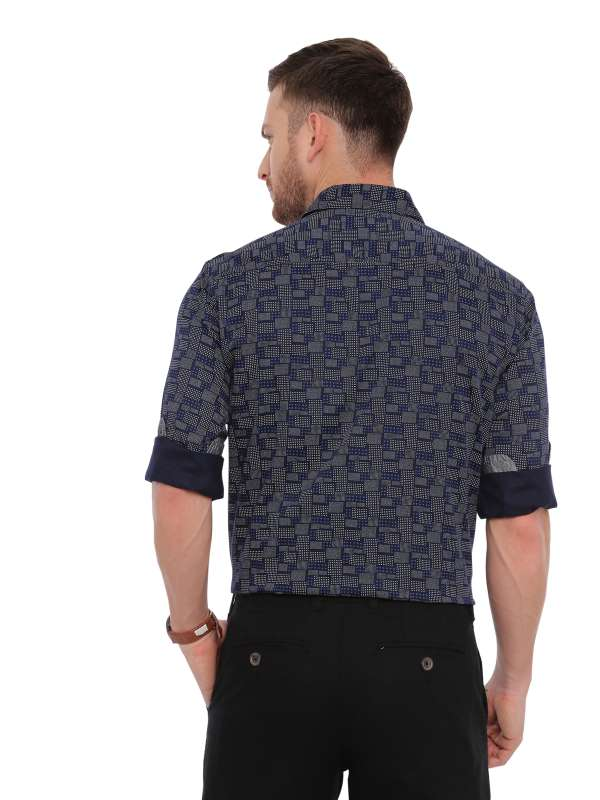 Navy Blue Semi Casual Regular Mens Printed Shirt