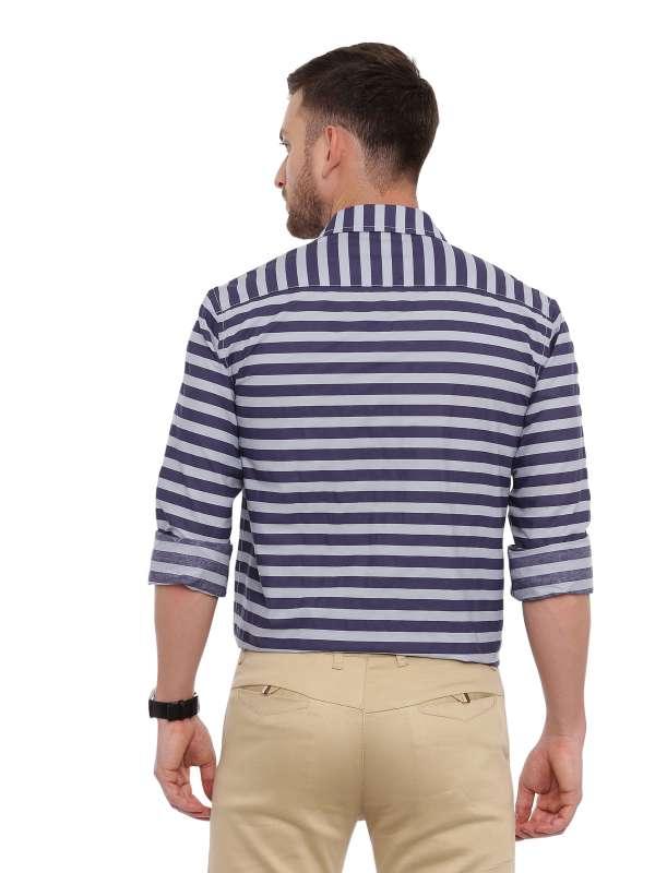 Blue Semi Casual Regular tailored Striped shirt