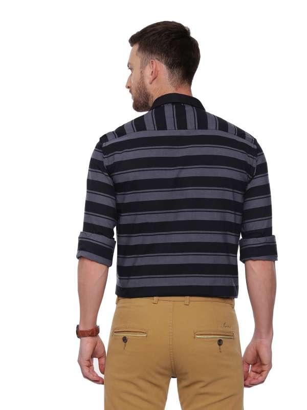 Black Semi Casual Regular tailored Striped shirt