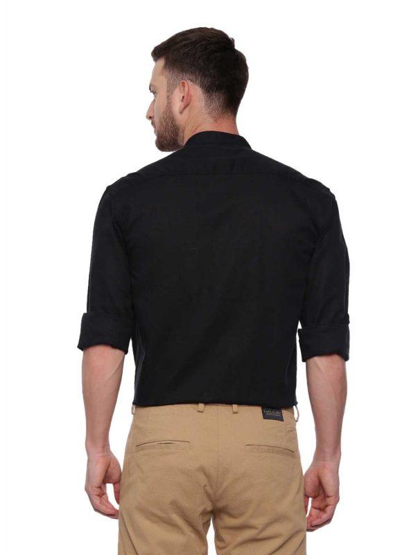 Croydon UK Black Semi Casual Mandarin Shirt