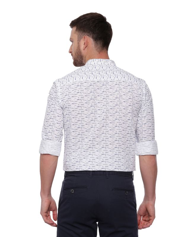 White Semi Casual Mandarin Printed shirt