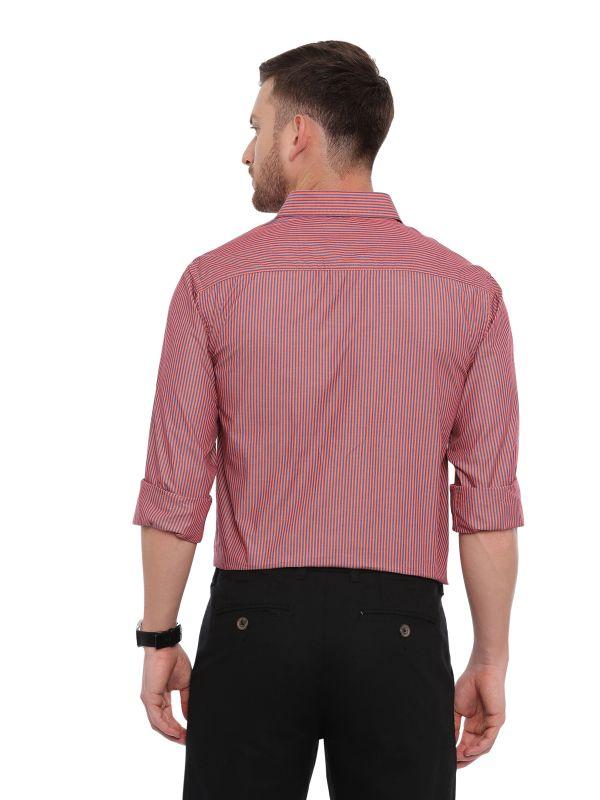 Red Smart formal Regular Mens Striped shirt
